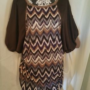 Uncle Frank Brown Chevron Design Dress - Size 8